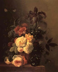 still life with roses, peonies, iris, auricula, sweetpea  and wildflowers in a sculpted vase on a stone ledge by arnoldus bloemers