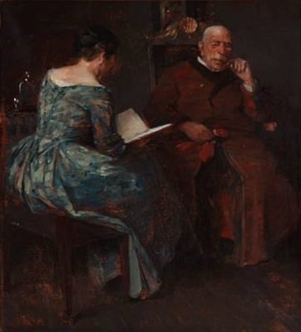 evening atmosphere in a living room where a lady is reading for a man by herman albert gude vedel