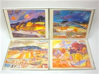 abstract landscapes (group of 4 works) by jean krille