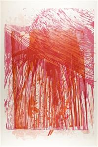 ohne titel (komposition in rot und ocker) by hermann nitsch