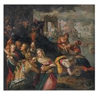 biblische szene (bethlehemitischer kindermord?) by gillis van valckenborch
