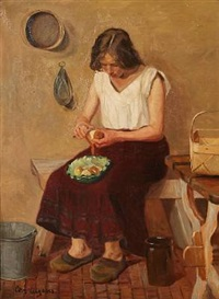 kitchen interior with a young girl peeling potatoes by christian aigens