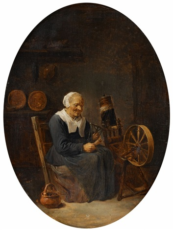 old woman at the spinning wheel by david teniers the younger
