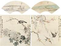 山水·花鸟 镜框 设色绢本 (4 works) by pan yuanzhen and liang yuwei
