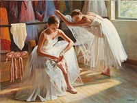 two ballet girls stretching by alexander akopov