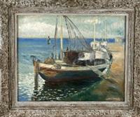 fischerboot an der kaimauer by ernst müller-scheessel