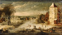 a village scene in winter with skaters by philips de momper the younger