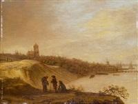 blick auf die grote kerk in arnhem und den rhein by cornelis simonsz van der schalcke