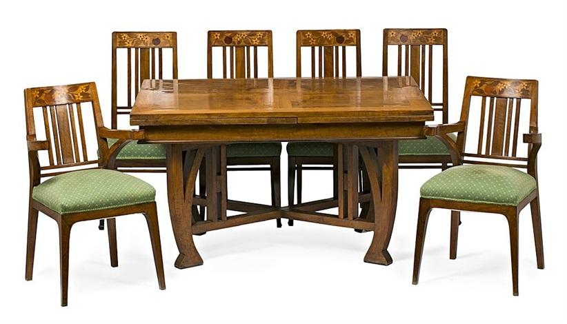 Mesa de comedor y juego de cuatro sillas y dos sillones 7 ...