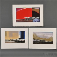 solar eclipse; les champs; golden splash (3 works) by shigeki kuroda
