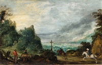 mountain landscape with horseman and woodcutter by joos de momper the younger