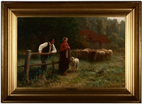 french pastoral scene with figures and sheep by martin coulaud