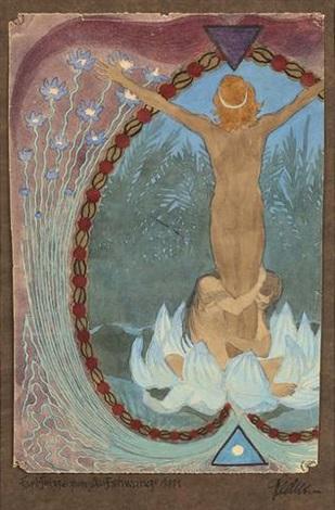 farbskizze zum aufschwung 1911 sketch by hugo hoppener fidus