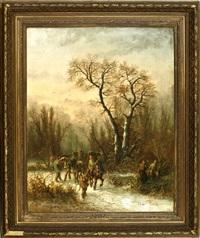 reisig sammelnde bauern zu pferd und mit fuhrwerk im winterwald by edouard ferey