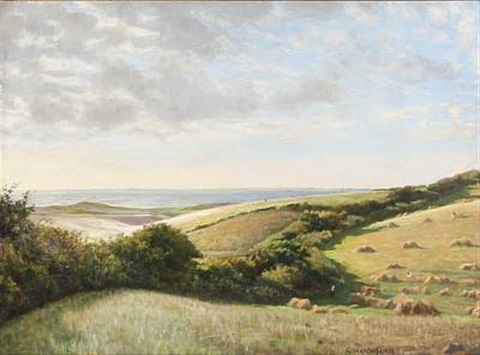 summer landscape near a coast by carl christian ferdinand wentorf