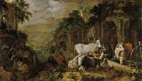 kühe an einem wassertrog by roelandt savery