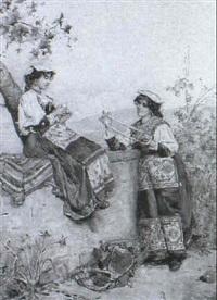 two italian girls winding wool by guiseppe riva
