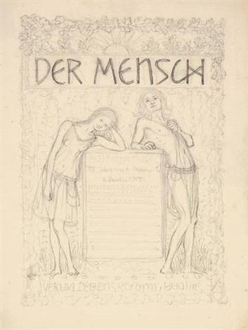 der mensch titelblatt entwurf design by hugo hoppener fidus