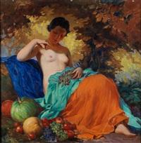 junge dame unter herbstlichen laubbäumen mit früchten by marcel krasicky