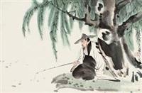 垂钓图 镜心 设色纸本 by xiao ping