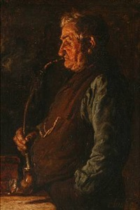 an older gentleman smoking a pipe by cilius (johannes konrad) andersen