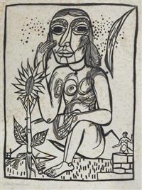 assis nu féminin avec le tournesol by heinrich campendonk