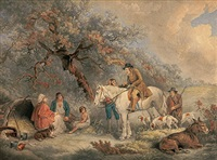 im wald lagernde familie und jäger (after george morland) by william ward i