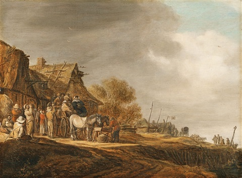 halt in front of a tavern by jan josefsz van goyen
