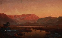 south german landscape (+ romantic landscape in moonlight, verso) by wilhelm ferdinand xylander