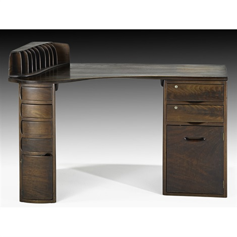 custom double pedestal desk with letter holder by wharton h esherick