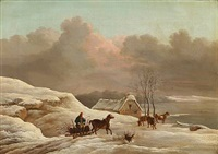 winter landscape with a man driving wood on a carriage by frederik michael ernst fabritius de tengnagel