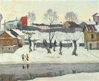 village scene in snow by arnold borisovich lakhovsky