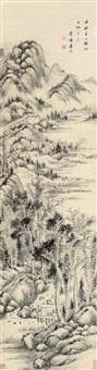 山居读书 (landscape) by tu zhuo