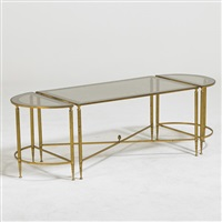 coffee table and matching demi lune side tables, france (3 works) by labarge