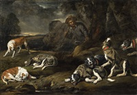 landscape with dogs and a huntsman by jan fyt