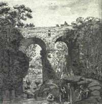 young men fishing beneath a bridge with others looking on by andrea-salvatore (di antonio di arco) aglio