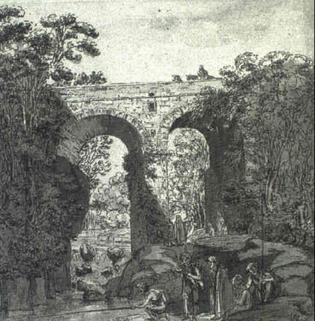 young men fishing beneath a bridge with others looking on by andrea salvatore di antonio di arco aglio
