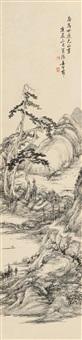 松溪钓艇 (landscape) by jiang shijie