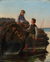 summer dressed girl and a fisher boy on a rocky coast by anton laurids johannes dorph