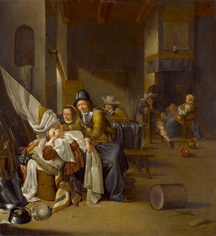 interieur mit schlafender frau und soldaten by jacob duck