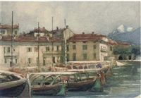 moored craft at the harbour of menaggio, lake como by peter alexander hay