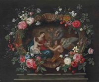 the madonna and child with attendant angels, in a sculpted cartouche decorated with roses, columbines, daffodils and other flowers on a plinth by frans ykens