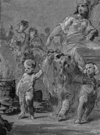 göttin auf einem wagen von einem löwen gezogen by august karl friedrich von kloeber
