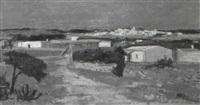 südliche küstenlandschaft mit dorf im hintergrund by verene mettler