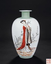 《梅花春神》 (china-ink painting vase with design of plum blossom in gold) by xia zhongyong
