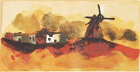 windmühle in weiter landschaft by christian kruck