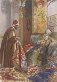 orientalist interior scene of two merchants by amedeo momo simonetti
