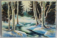 winter and autumn river scene/a double-sided composition by james a. camlin