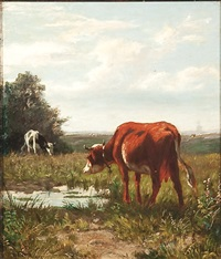 landscape with cows watering by william frederick hulk