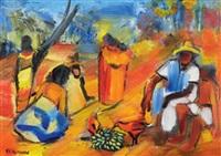 szene auf einem afrikanischen markt by eli kyeyune